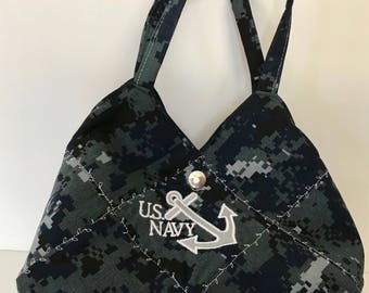 US NAVY CAMO - Ready Made Patchwork Medium Hobo Bag