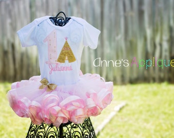 Teepee Tribal Glitter Gold Pink Arrows Birthday Tutu Custom Personalized Onesie Set Outfit Applique