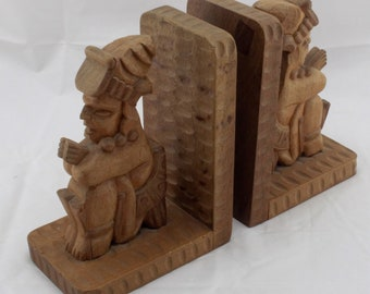 Pair of Mayan Wooden Bookends