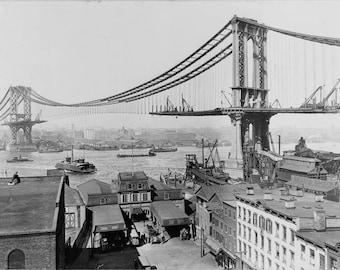 Manhattan Bridge, New York at 1909, fine art print