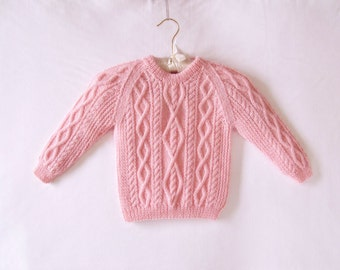 Fishermans Cable Sweater, Pink Machine Washable Wool Sweater, Aran Sweater, Toddler Hand Knit Sweater, Baby Sweater, Irish Fisherman Sweater