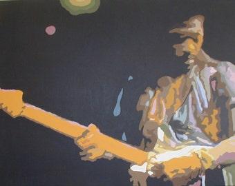 Jimi Hendrix - Original Pop Art Painting on box canvas