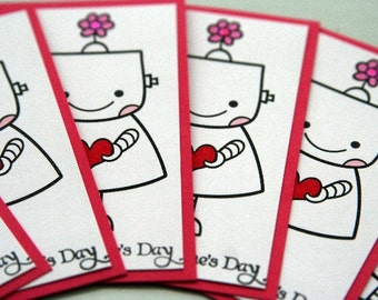 Girl Robot Valentines Cards Flat Mini Set of Six, Kids Valentines Day Cards, Classroom Valentine Party Cards