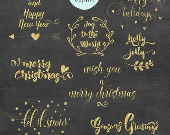 BUY 2 GET 1 FREE, Gold Foil Christmas Clip Art, Christmas Quotes, Christmas Phrases and Photo Overlays,  12 png, 300 dpi, instant download