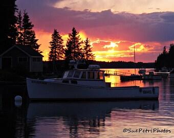 Nautical Sunset, Sunset Photos, Bar Harbor, Maine, Nautical Decor, Cottage Chic, Color Photography, Landscapes, Seascape, Pastels, Nautical