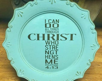 Scripture Cross Charger Plate,Decorative Charger Plate,  Mental Decor, Housewarming Gift, House Decor, turquoise Charger Platter,black Vinly
