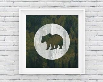 Wooden Bear Digital Print