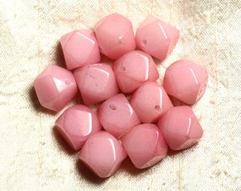 Wire 25pc approx 39cm - jade stone - 14-15mm light Rose faceted Cubes