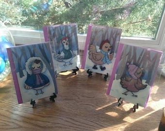 Chickens in the Snow - Blank Greeting Cards