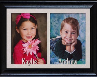 5x7 JUMBO™ PERSONALIZED Double Photo NAME Frame ~ Holds Two Portrait 5x7 Photos ~ Double Name Frame ~ Kids Name Picture Frame ~ Grandparents