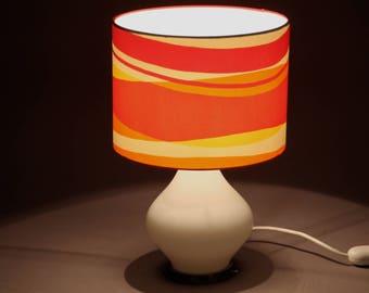 Tischlampe Retro 60er orange/ weiß