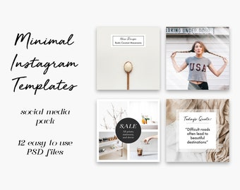 Instagram Template Pack - 12 Minimal Templates - Social Media Photoshop Kit for Bloggers, Small Businesses, Influencers, and Creatives