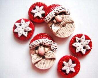 Button Rustic Folkart Santas handmade polymer clay buttons ( 6 )