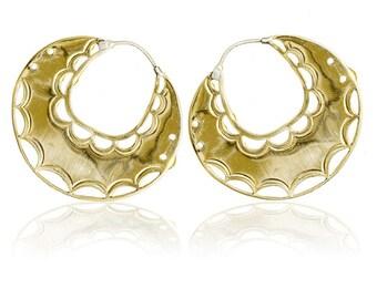 Brass 'Lace' Hoop earrings, Tribal hoop earrings, Ethnic Hoop earrings, Tribal earrings, Gypsy earrings, Gypsy hoop earrings, Tribu earrings