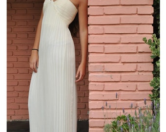 Vintage 1990s Chiffon Goddess Wedding Pleated Maxi Dress Strapless  Ivory Creamy White Gown S