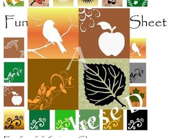 Feuille de Collage numérique - téléchargement immédiat - Fun pour l'automne - 1 pouces carrés