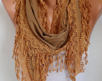 Camel Pashmina Scarf, Summer scarf,birthday gift,Bohemian,Cowl Scarf Gift Ideas For Her  Women's Fahion Accessories