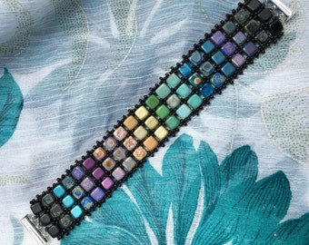 Cool Colors Rainbow Tile Bracelet