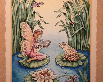 "Fairy Print, Frog Art, 8 x 10 Giclee Art Print, ""Fairy & Frog,"" Baby Girl Nursery Decor, Wall Art, Gouache, Nursery Art Print, Reading Nook"