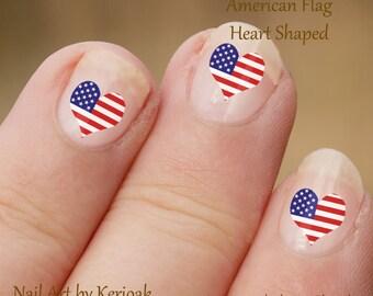 American Heart Shaped vlag Nail Art, ons Nail Art Stickers, vingernagel stickers, vinger nagel kunst, hart gevormde stickers, nail stickers