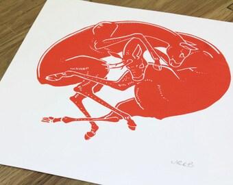 Red Deer Handprinted Screen Print