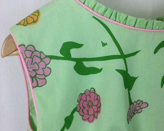 Vested Gentress 1960's Floral Hand-Screen Printed Dress
