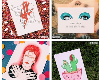 David Bowie - Inspired Art Print / 5 X 7 Print Set