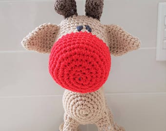 Hand Crocheted Rudolph the Red Nose Reindeer