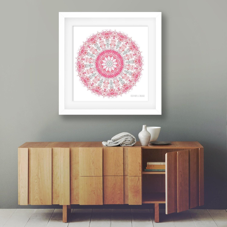 Large Coral Mandala Print 24x24 Wall Art Oversized Decor Grey