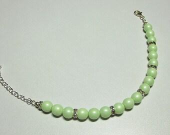 Pastel Green Pearl and Swarovski Rhinestone Strand Bracelet, Christmas Gift Birthday Mom Mother Gift Sister Aunt Girlfriend Bridesmaid