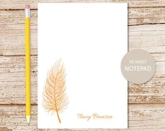 personalized feather notepad . feather silhouette note pad . personalized stationery . custom stationary