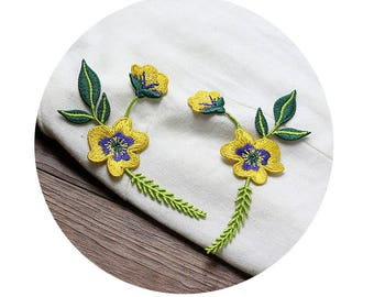 Yellow Flowers Appliques Sew On, one pair