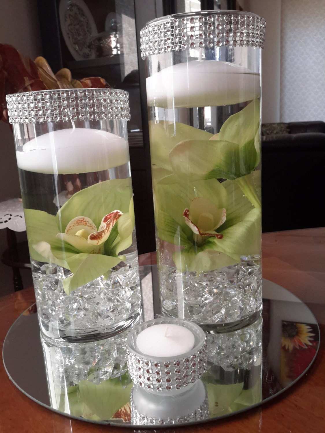 Bling Cylinder Floral Floating Candle Centerpiece Set With