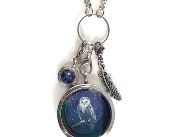 Owl Locket - Owl Jewelry - Owl Charm Necklace - Floating Locket Necklace - Mothers day gift - Wearable Art