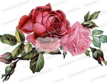 Vintage Shabby Victorian Pink Red Roses Digital Download — Printable Ephemera
