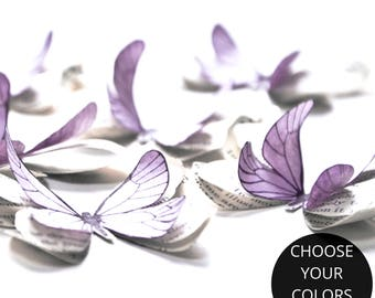 Pastel baby shower decorations, lilac paper butterflies, lilac wall decor, butterfly wall decals for baby girl, vintage wedding decor