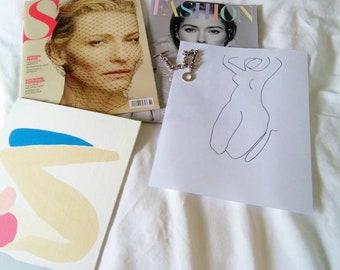 "New! Abstract Minimalist Art Print, Abstract Figure; printed on 100% Cotton Rag ""Curves"" Art Print; 8.5"" x 11"""