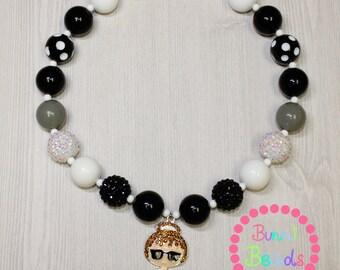 Audrey Hepburn Bubblegum Chunky Necklace Set