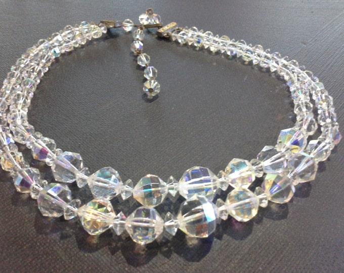 Original Vintage AB Aurora Borealis Swarovski Crystal Glass Double Strand Beaded Choker Necklace