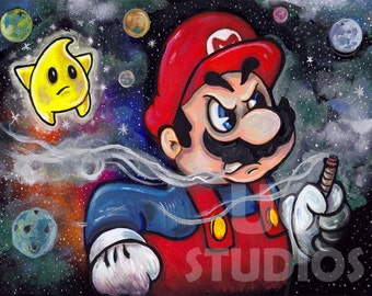 Angry Super Mario Video Game PRINT 449 from Parody Painting by Michael Brown /UC Studios