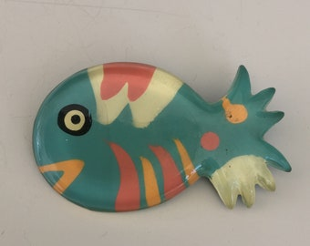 Vintage  hand made Figural Fish Brooch .