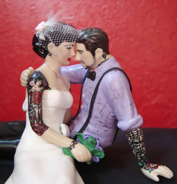 Tattooed Bride And Groom Cake Topper