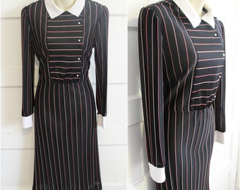 Goth Collared Dress Wednesday Addams Dress Pinstripe 70s 80s Vintage Red White Black Button Up Prim Gothic Punk Large Med Knee Length Fitted