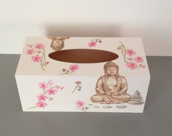 Box has tissue wood Buddha decor, flower, Pebble W 25 cm x H 10 cm approx