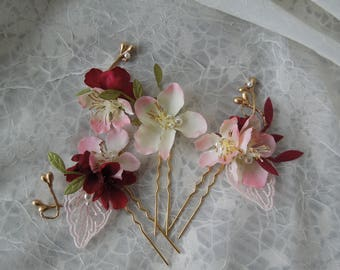 Floral hairpins,burgundy hairpins,dusty rose and lace and flower hair accessory,ivory and light pink flowers,pearls and flower hair pins
