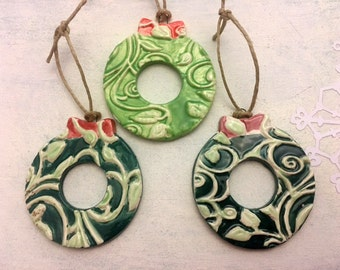Ceramic Wreath Ornaments