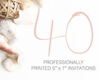 40 Professionally Printed Invitations White Envelopes Included And Free US Shipping, Printed Invitations