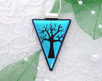 A lovely etched tree dichroic glass pendant