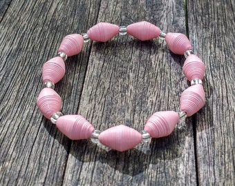 Handmade bracelet with baby pink recycled paper and silver glass beads