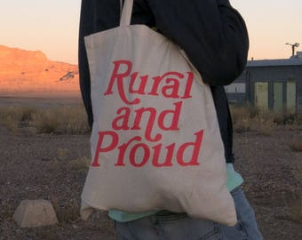 RURAL and PROUD Screenprinted Canvas Grocery Tote Bag